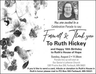 Farewell & Thank Your To Ruth Hickey
