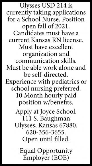 School Nurse Needed