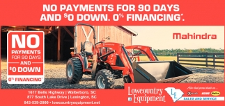 No Payments For 90 Days And $0 Down. 0% Financing.