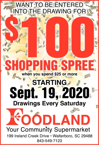 Want To Be Entered Into The Drawing For $100 Shopping Spree