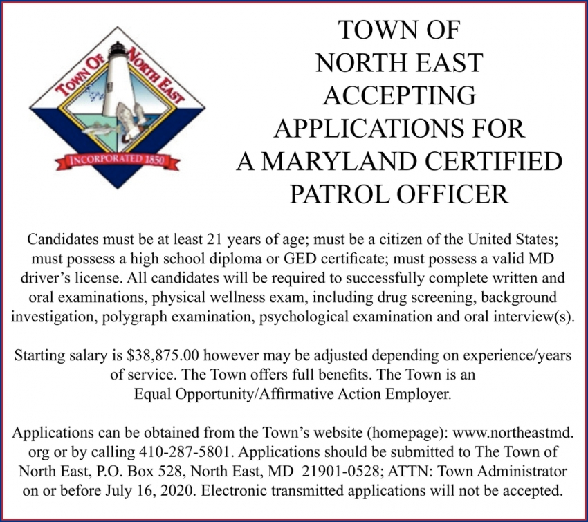 Accepting Applications For A Maryland Certified Patrol Officer