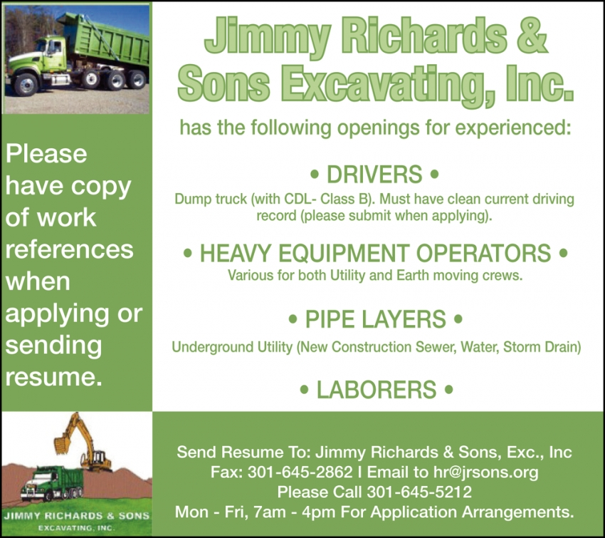 Drivers - Heavy Equipment Operators - Pipe Layers - Laborers