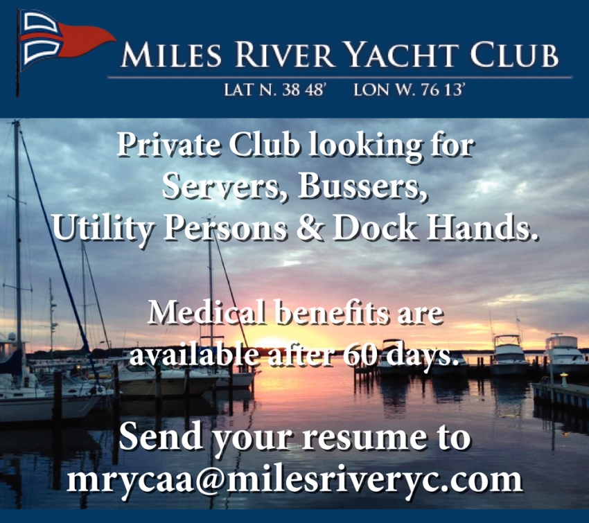 Servers, Bussers, Utility Persons & Dock Hands