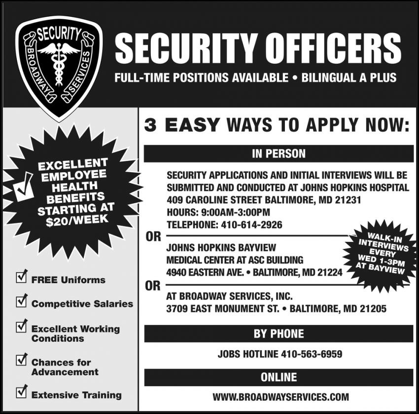 Security Officers Needed
