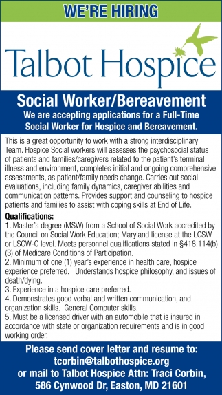 Social Worker/Bereavement Needed
