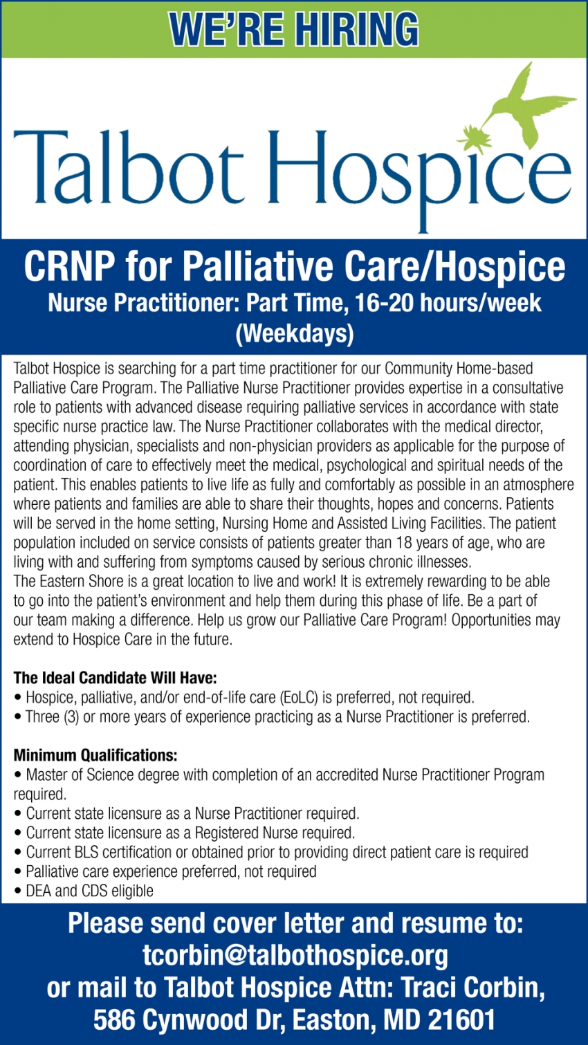 CRNP For Palliative Care/Hospice