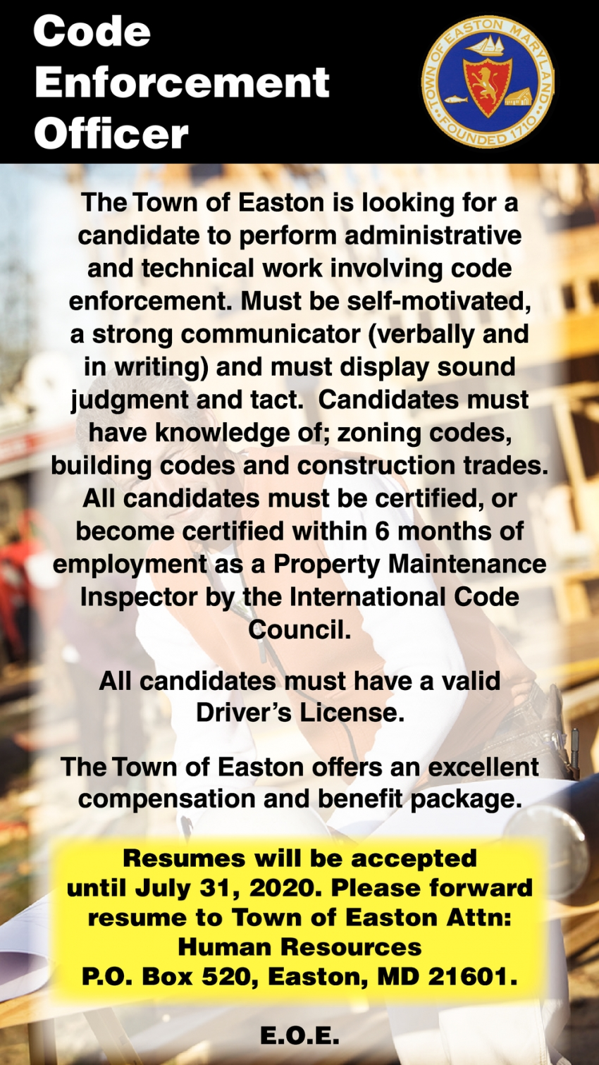Code Enforcement Officer Needed