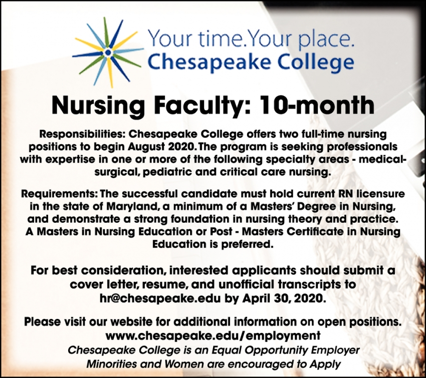 Nursing Faculty: 10 Month