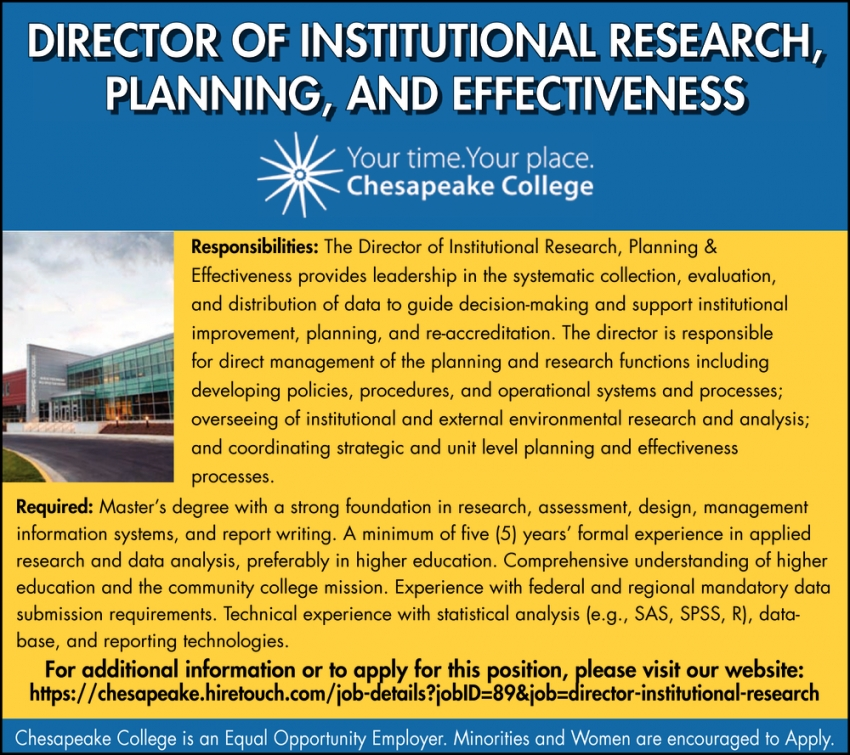 Director Of Institutional Research, Planning, And Effectiveness