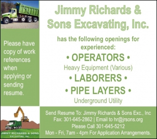 Operators - Laborers - Pipe Layers