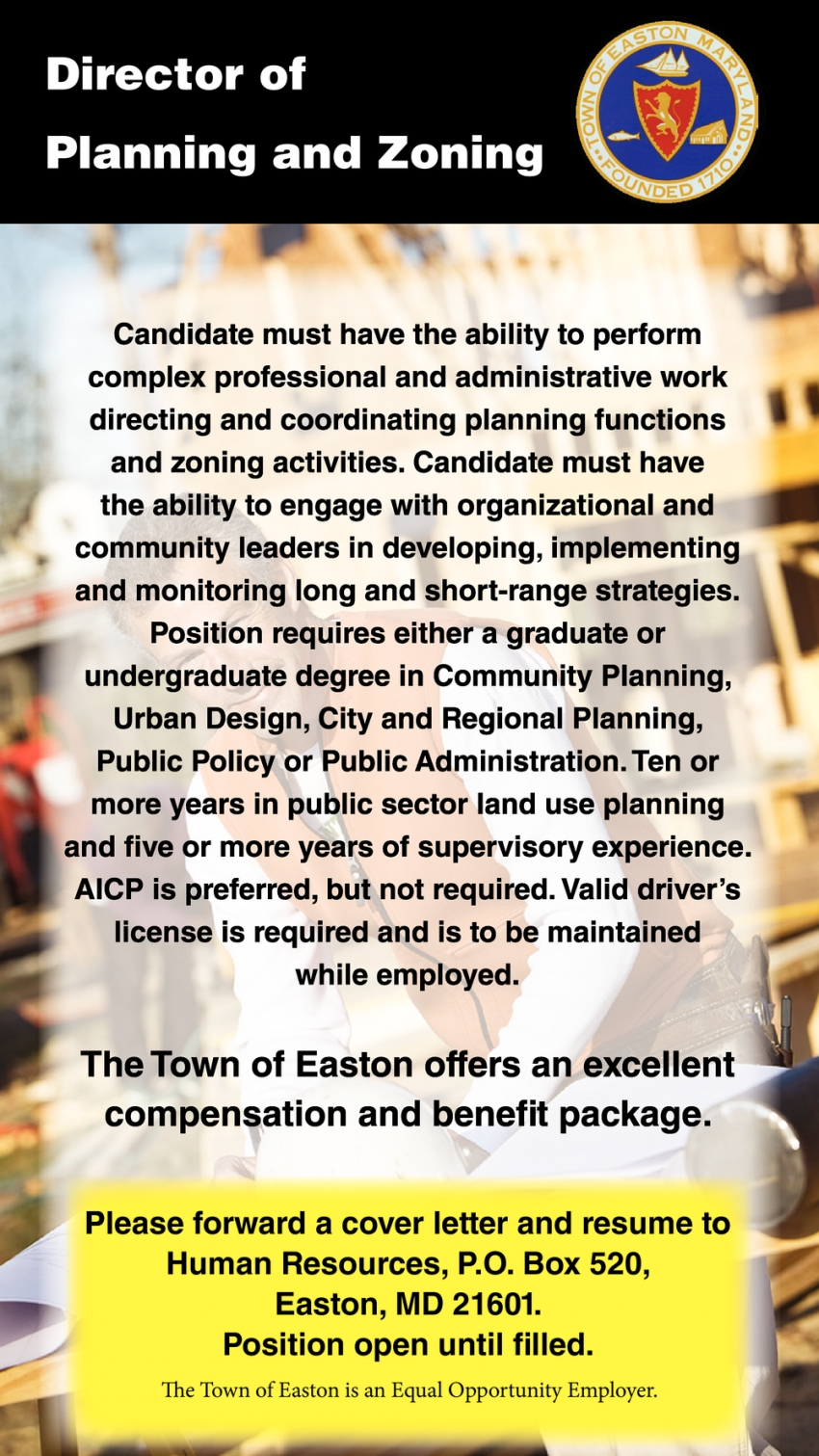 Director Of Planning And Zoning Wanted