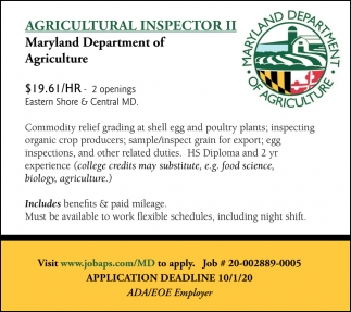 Agricultural Inspector II Wanted