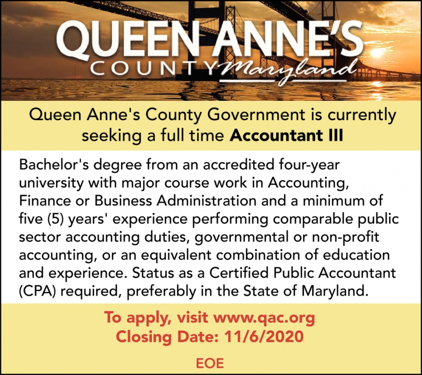 Seeking A Full Time Accountant III