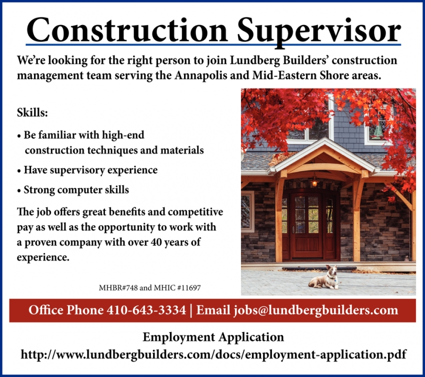 Construction Supervisor Needed