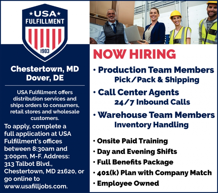 Production Team Members - Call Center Agents - Warehouse Team Members