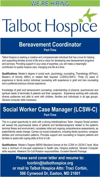 Bereavement Coordinator Needed