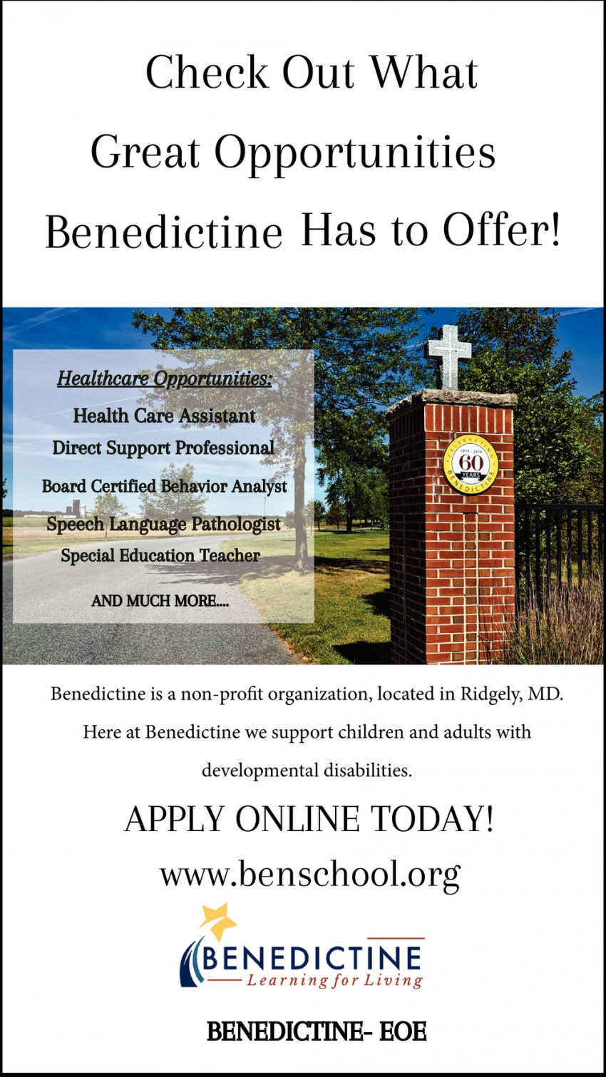 Check Out What Great Opportunities Benedictine Has To Offer!