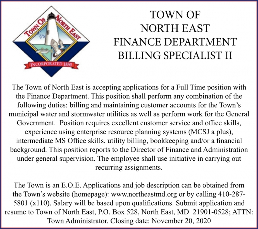 Finance Department Billing Specialist II