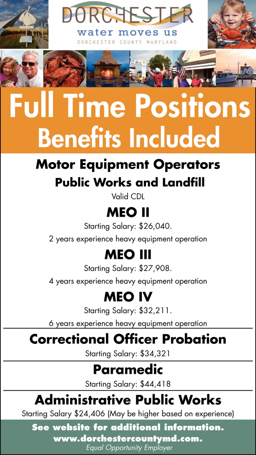Motor Equipment Operators - Correctional Officer Probation - Paramedic - Administrative Public Works