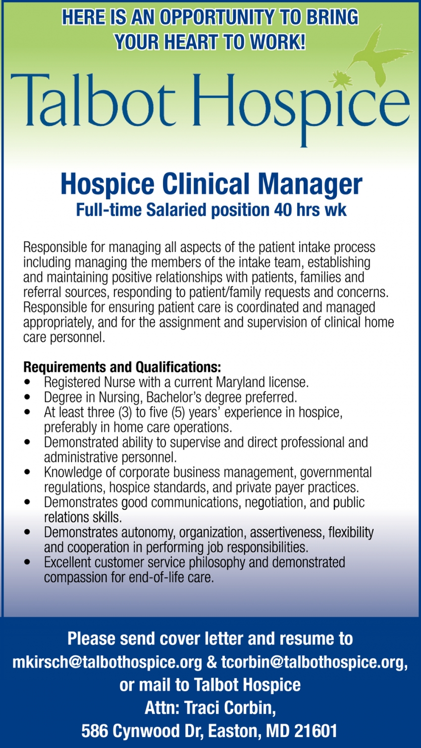 Hospice Clinical Manager Wanted