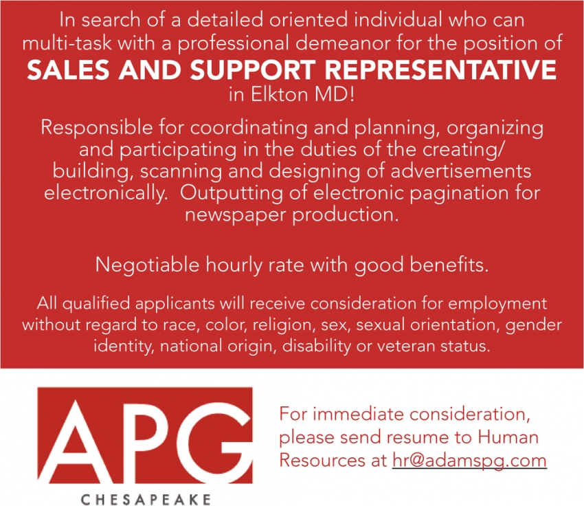 Sales And Support Representative Needed