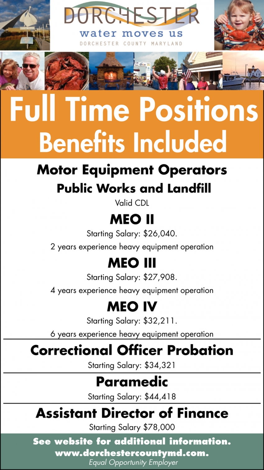 Motor Equipment Operators - Correctional Officer Probation - Paramedic - Assistant Director Of Finance