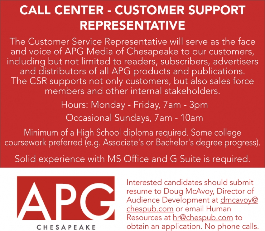 Call Center - Customer Support Representative