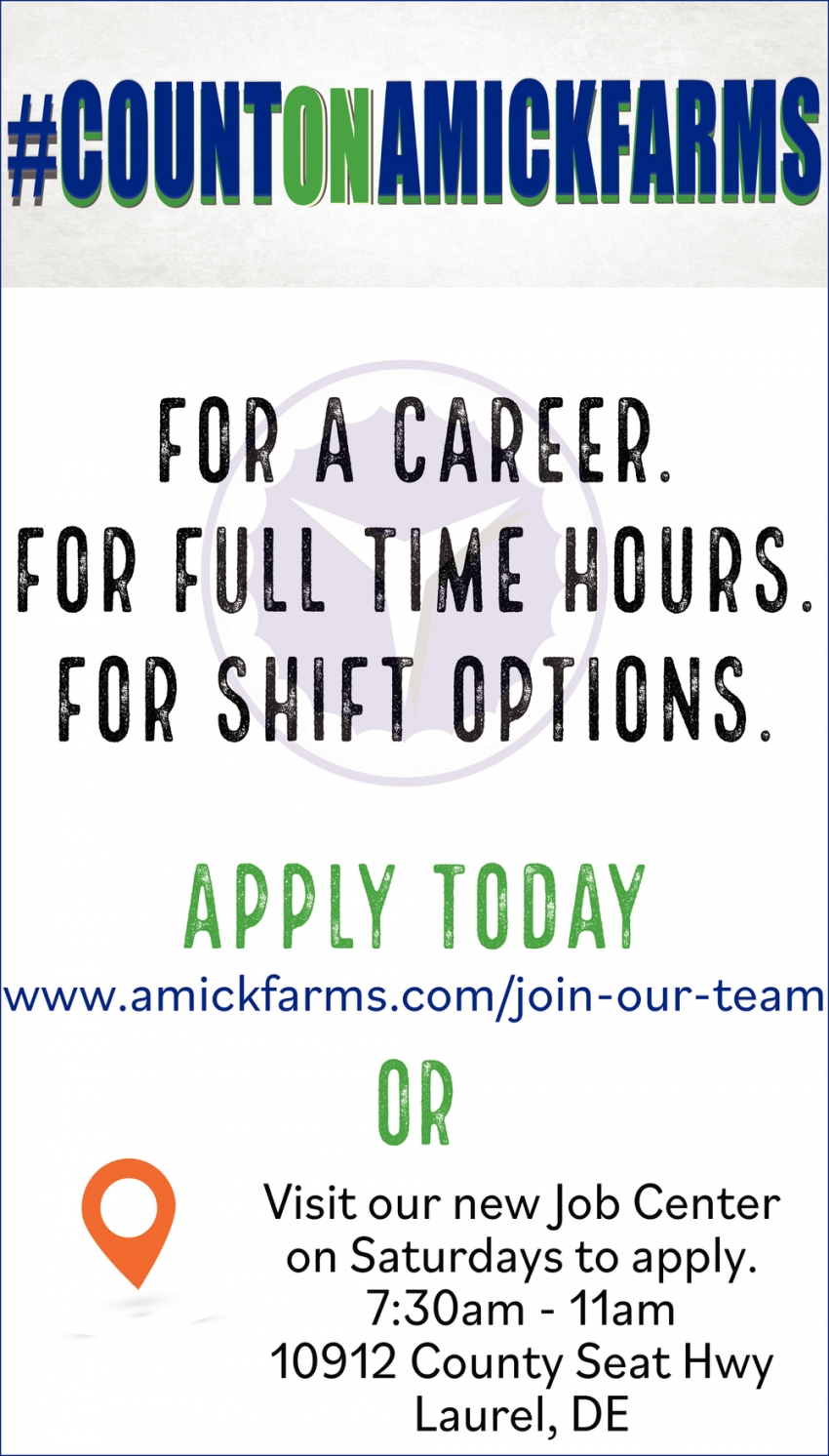For A Career. For Full Time Hours.