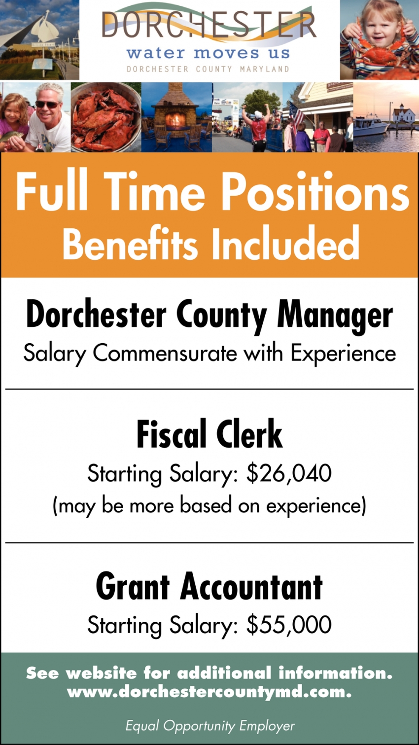 Fiscal Clerk - Grant Accountant - Dorchester County Manager