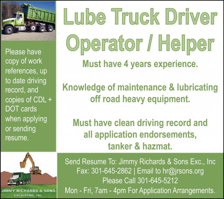 Lube Truck Driver