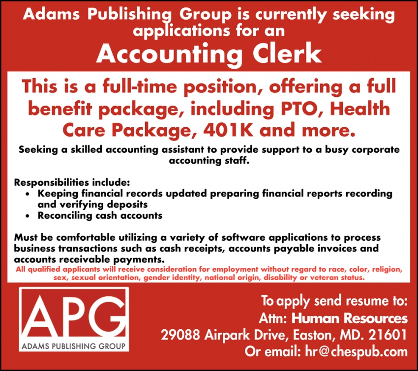 Accounting Clerk Needed