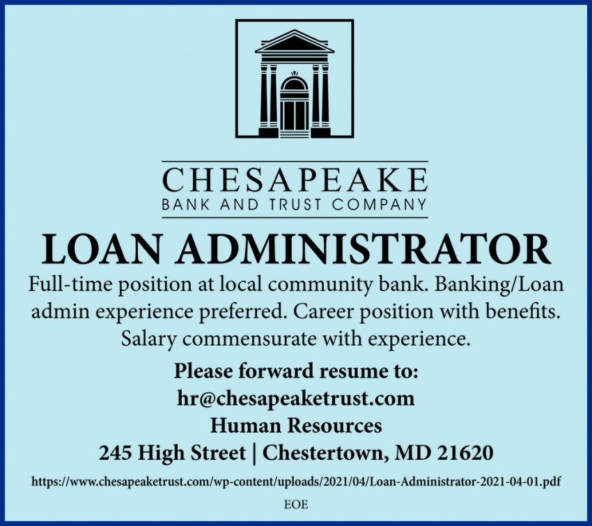 Loan Administrator Needed