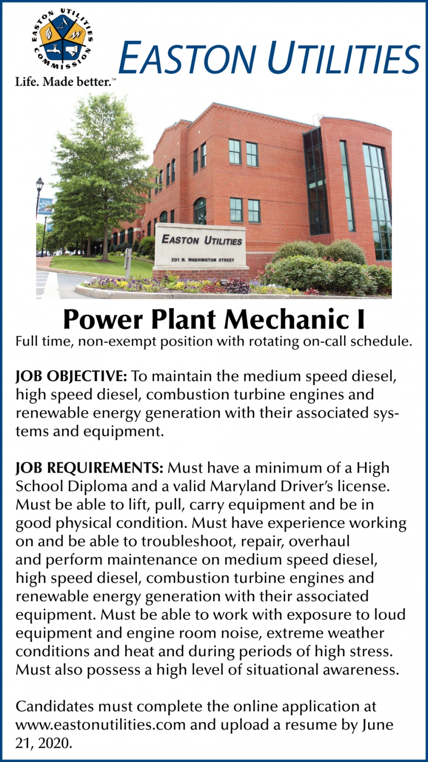 Power Plant Mechanic I