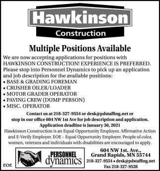 Multiple Positions Available
