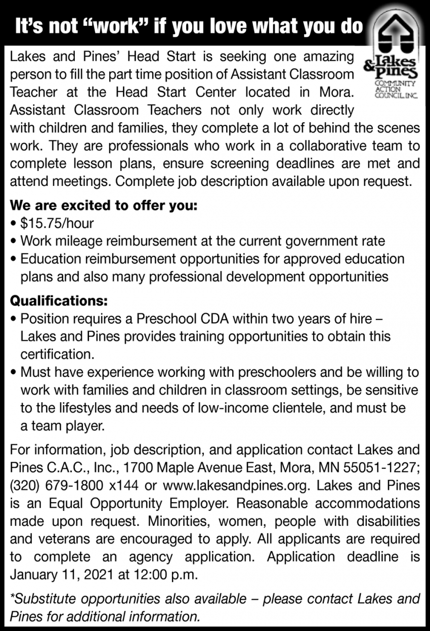 Assistant Classroom Teachers