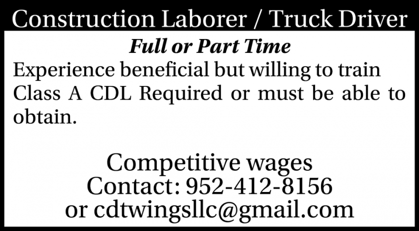 Construction Laborer / Truck Driver