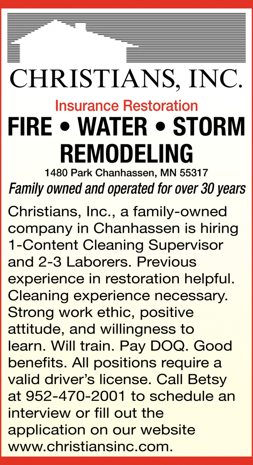 Cleaning Supervisor & Laborers