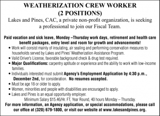 Weatherization Crew Worker