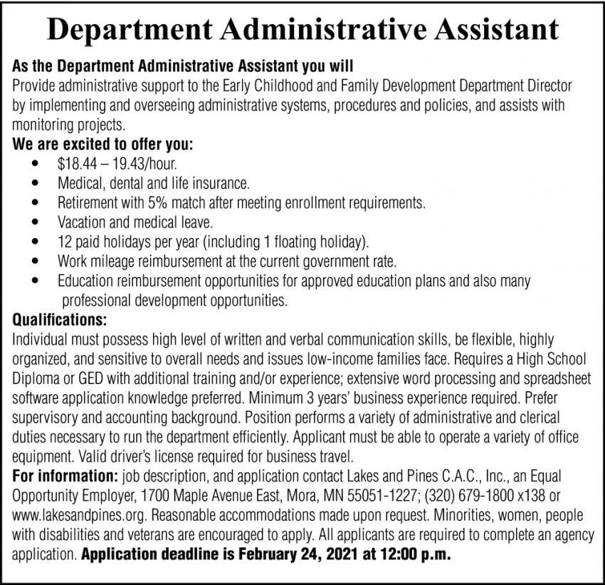 Department Administrative Assistant