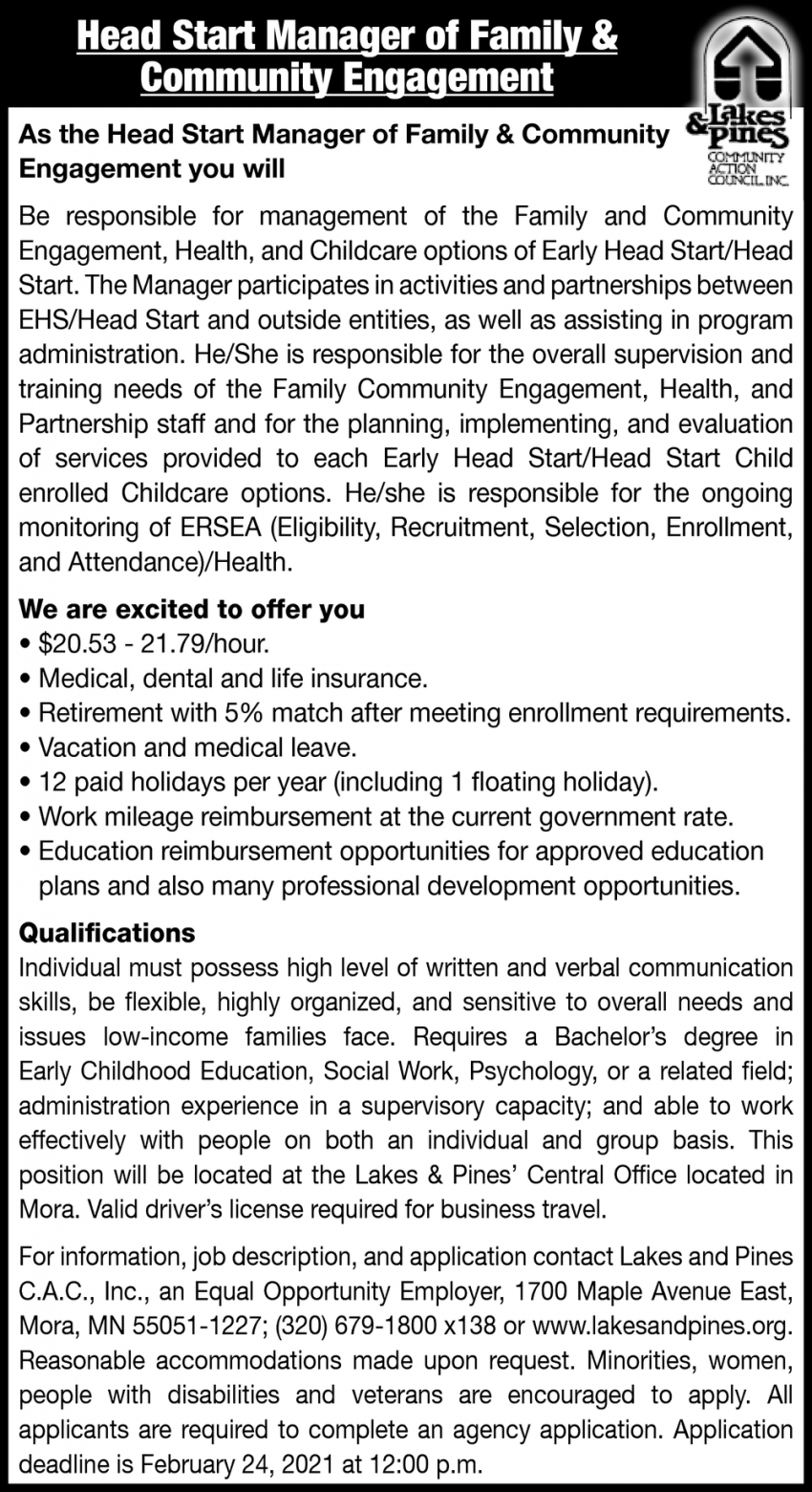 Head Start Manager of Family & Community Engagement