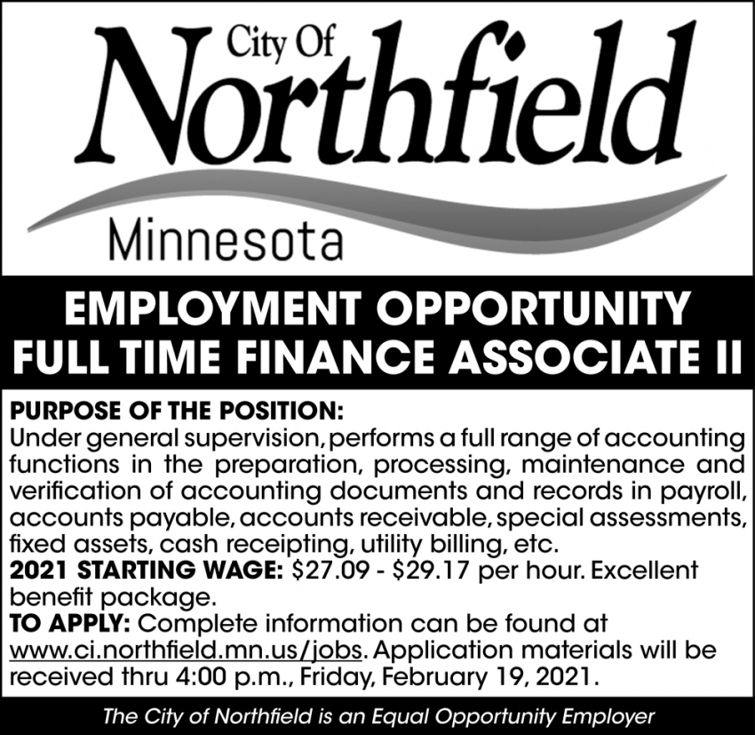 Full Time Finance Associate II
