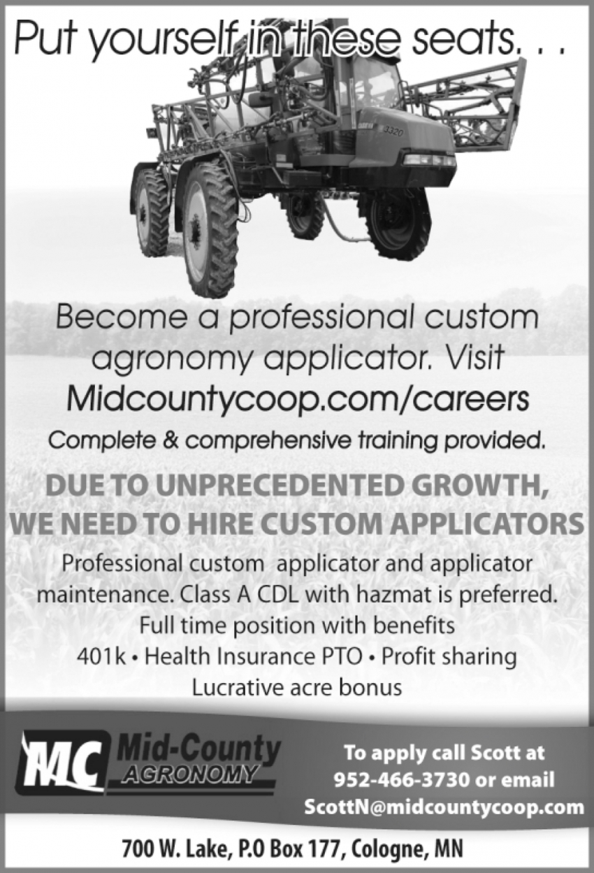 Become a Professional Custom Agronomy Applicator