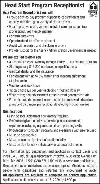 Head Start Program Receptionist
