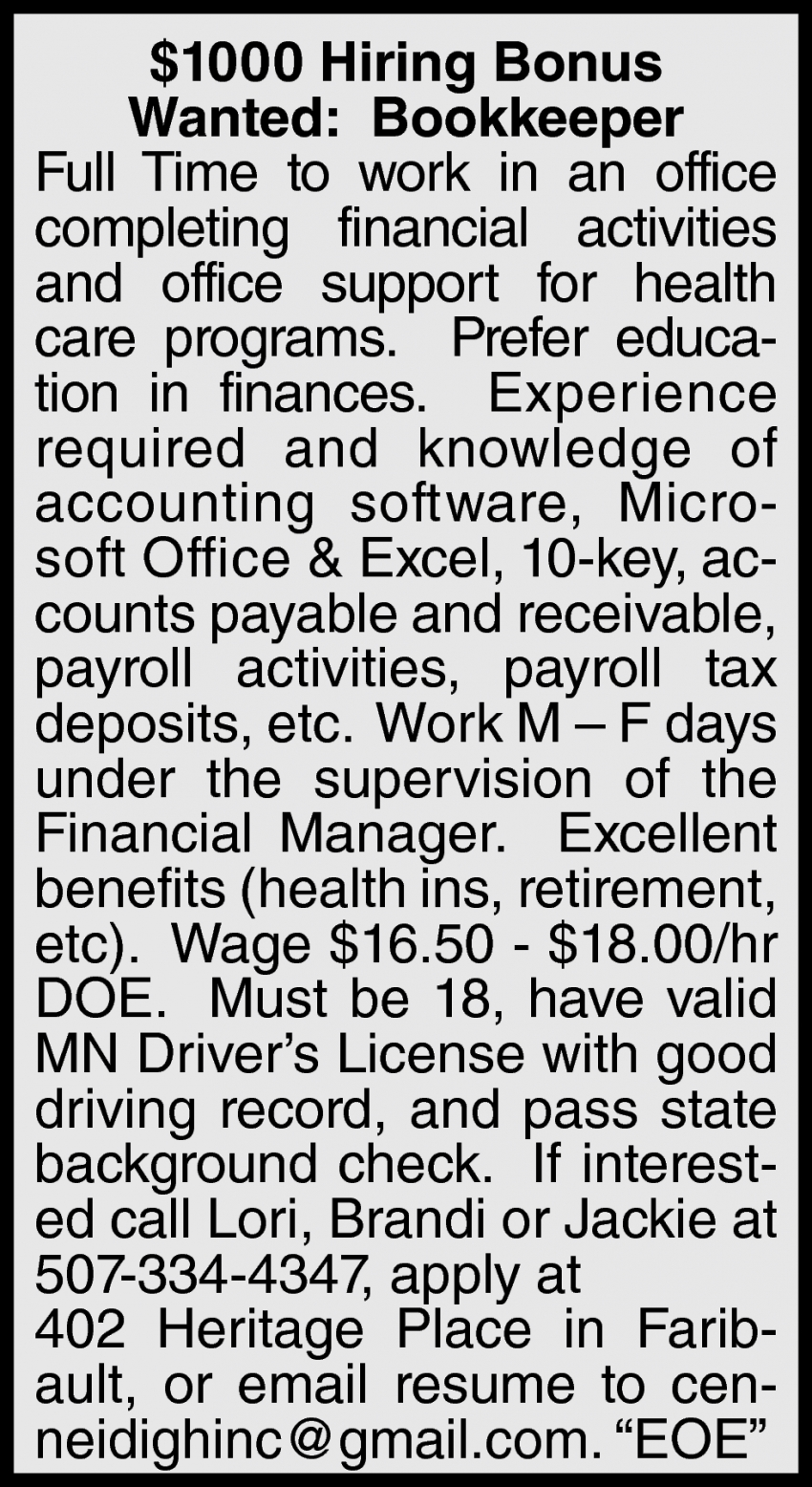 $1000 Hiring Bonus Bookkeeper