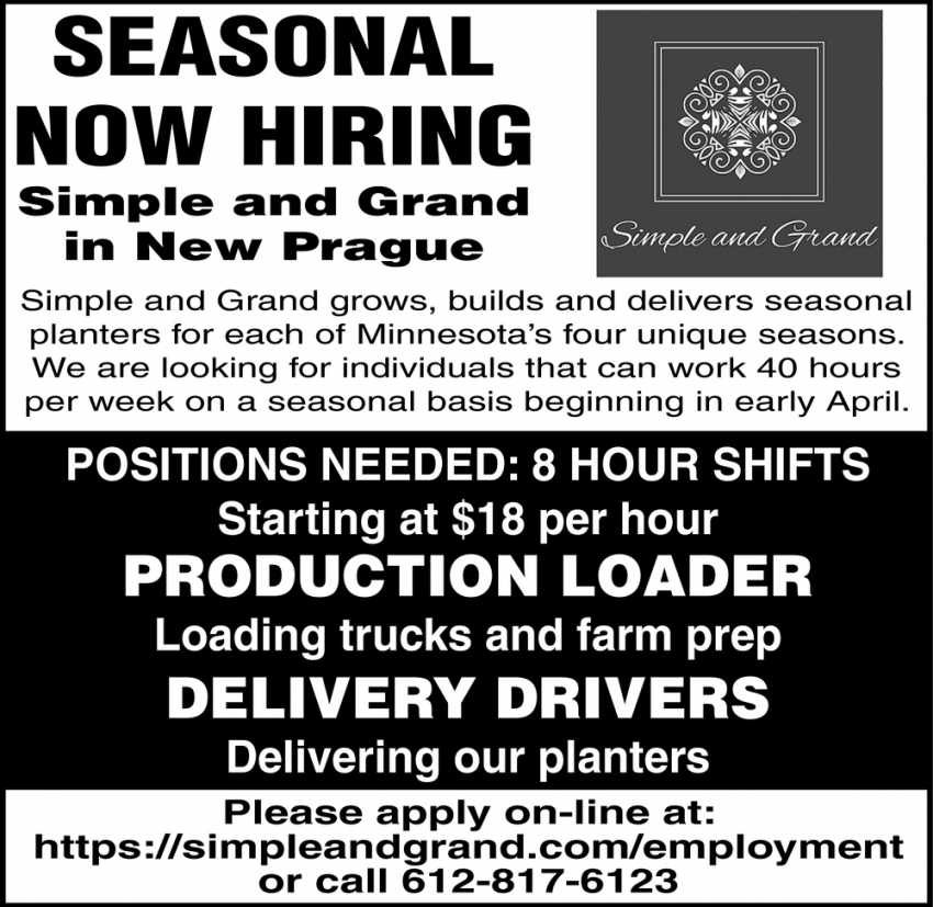 Production Loader, Delivery Drivers