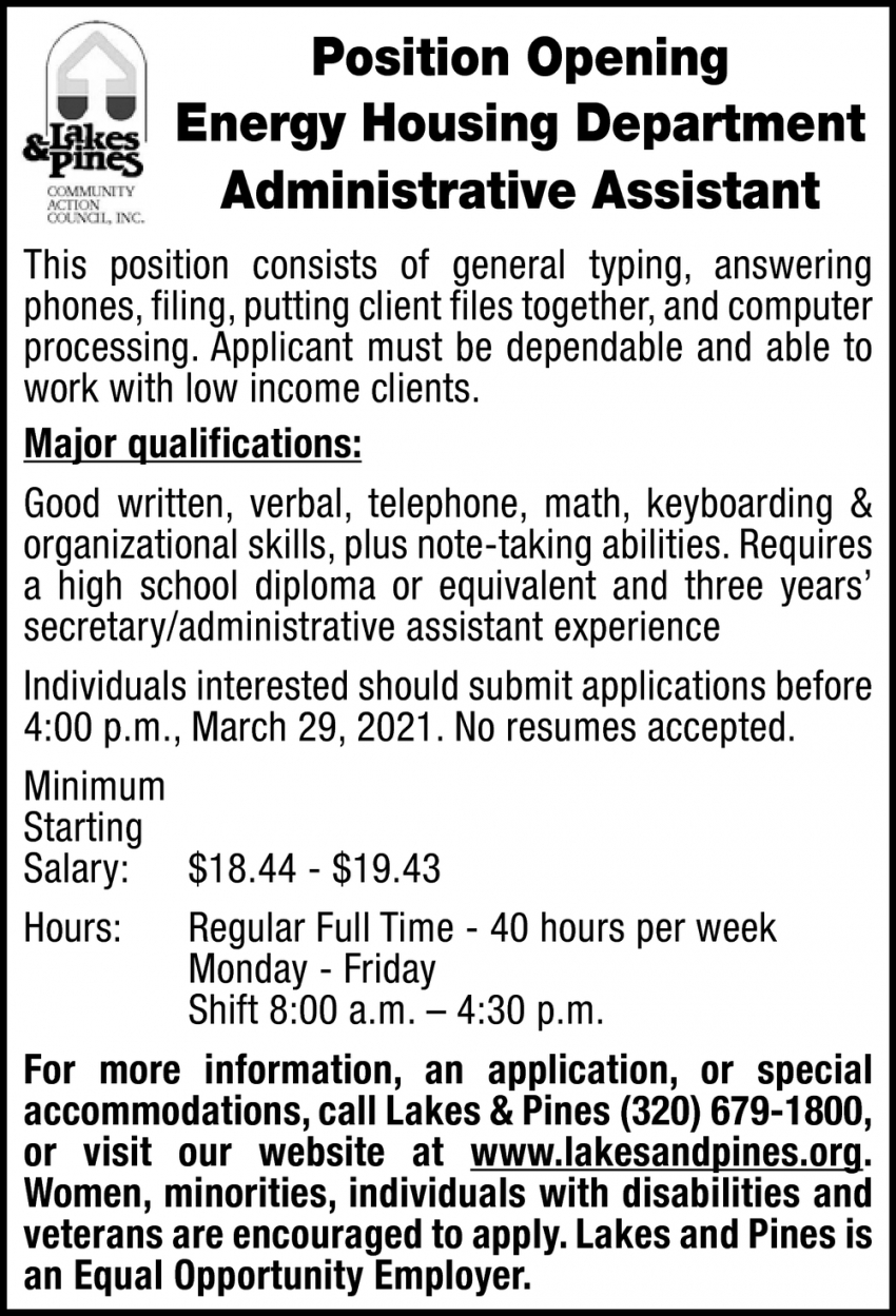 Energy Housing Department Administrative Assistant