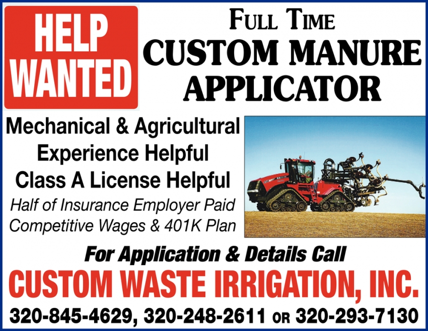 Full Time Custom Manure Applicator