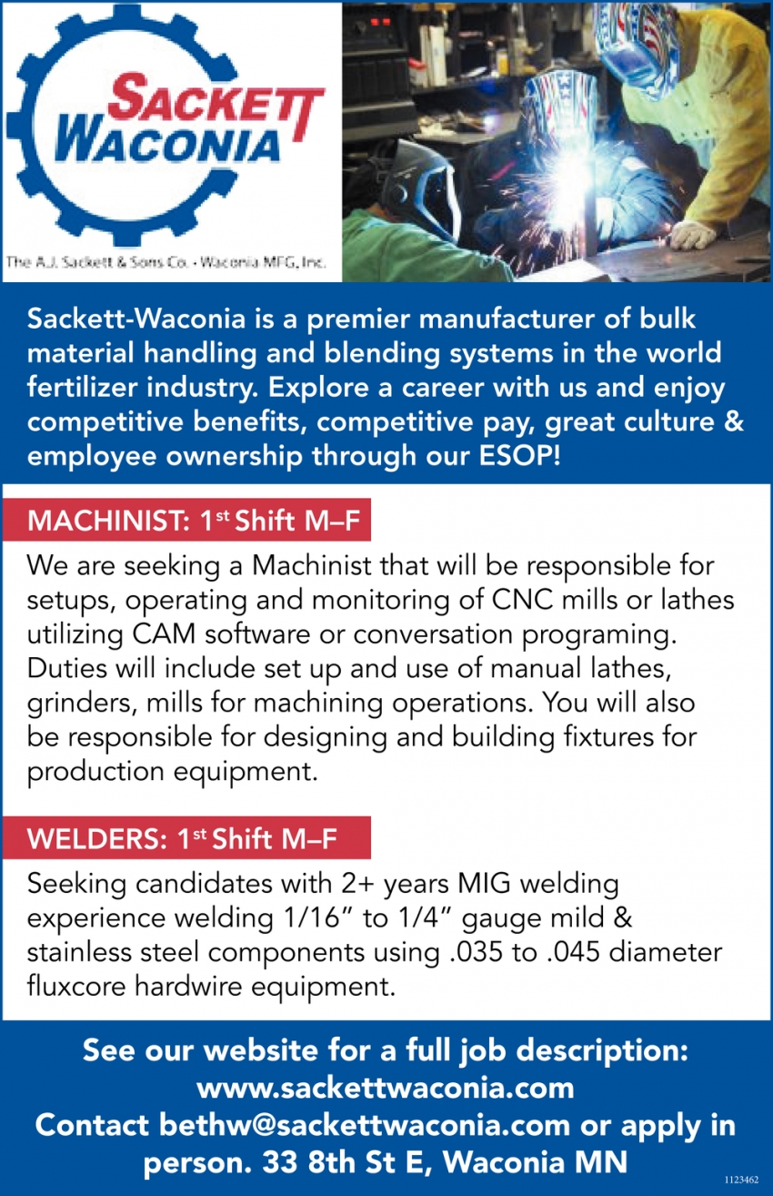 Machinist, Welders