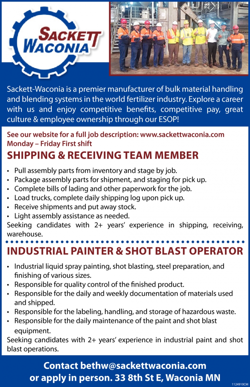 Shipping & Receiving Team Member, Industrial Painter & Shot Blast Operator