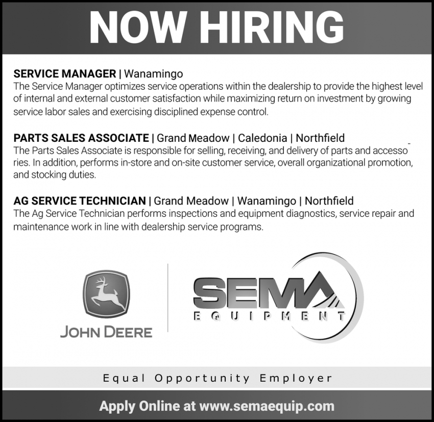 Service Manager, Part Sales Associate, AG Service Technician